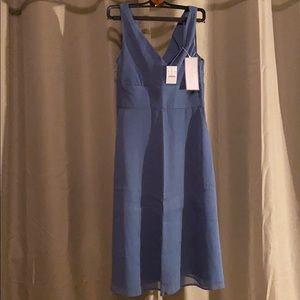 J Crew hazel blue dress silk chiffon sz 4 NWT New